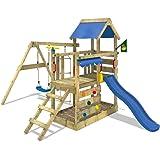 WICKEY Portique de jeux TurboFlyer avec balançoire et toboggan Plateforme à la hauteur de 90cm Aire de jeux en bois