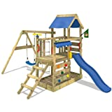 WICKEY Climbing frame TurboFlyer playground for children climbing tower with climbing wall, slide and swing