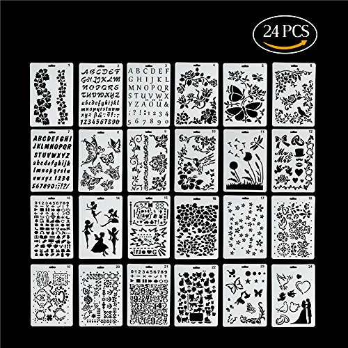 Kitamp Plastic Stencils Templates Set for Airbrush Painting and Crafts, Set of 24