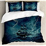 Ambesonne Landscape Duvet Cover Set, Stormy Rainy Weather Waves Pirate Vintage Ship Sailing Oil Paint, 3 Piece Bedding Set with Pillow Shams, Queen/Full, White and Dark Cadet Blue