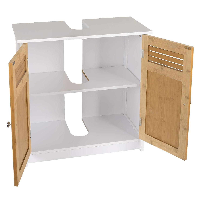 EUGAD Waschbeckenunterschrank Unterschrank Badezimmerschrank Waschtisch Badschrank mit 2 T/üre 60 x 30 x 60 cm Wei/ß//Grau