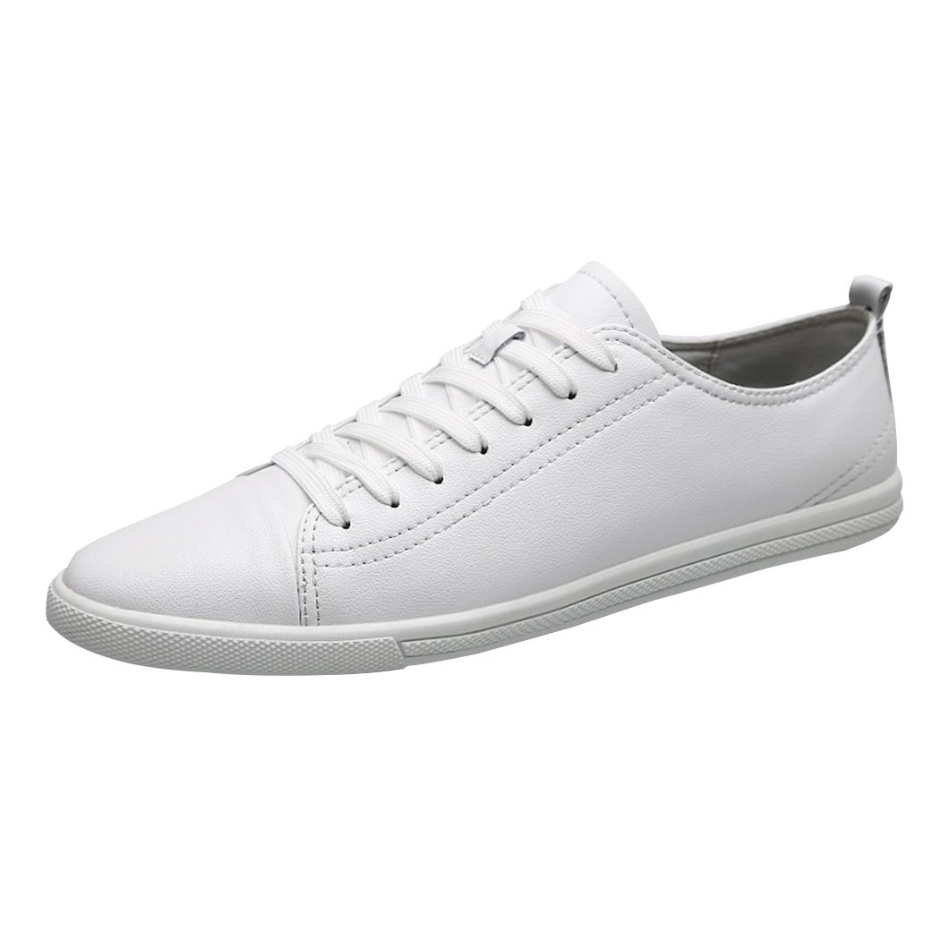 Sun Lorence Men's Leisure Street Lightweight Flexible Breatahble Leather Shoes Low Top Fashion Sneaker White 10 M US Men