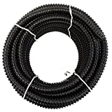 3/4'' I.D. x 50' Black Metric Non Kink Corrugated PVC Water Garden Pond Hose and Tubing