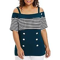 1a0171732977 TWGONE Off Shoulder Tops for Women Plus Size Short Sleeve Stripe Button T- Shirt