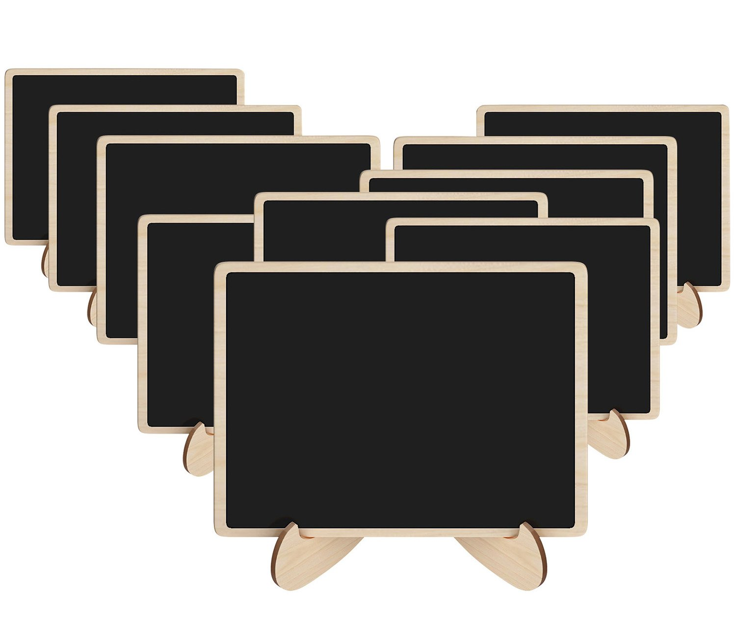 Leyaron 10 Pack Mini Chalkboards Place Cards with Easel Stand - Wood Rectangle Small Chalkboard Signs for Wedding, Birthday Parties, Table Numbers, Food Signs and Special Event Decoration (10 pack) LST-031-2