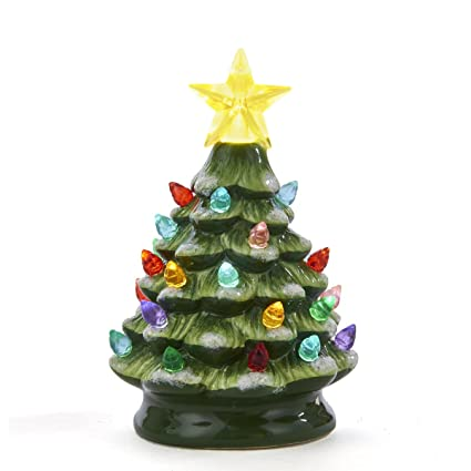 santas world green ceramic christmas tree small 55 tabletop battery operated