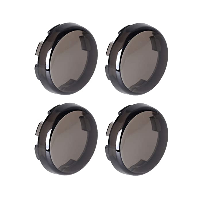 NTHREEAUTO Smoke Bullet Turn Signal Light Lens Cover Compatible with Harley Sportster Street Glide Road King Softail, Qty 4