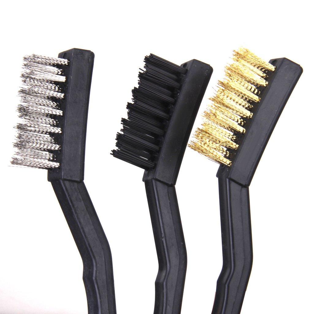 Mini-brosse Metallique Mis En Acier Nettoyage Laiton Nylon Polissage 7 Pouces 3pc Noir