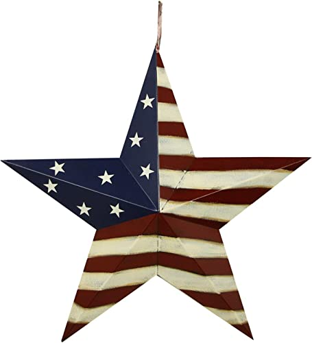 E-view Metal American Flag Barn Star Decor Patriotic Mounted 3D Wall Art July of 4th Decoration 22