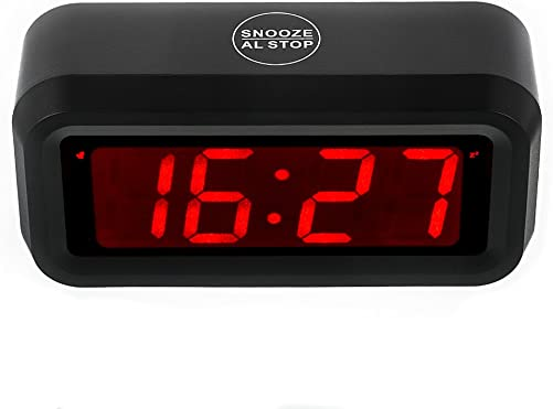 KWANWA LED Digital Alarm Clock Battery Operated Only Small for Bedroom Wall Travel with Constantly Big Red Digits Display