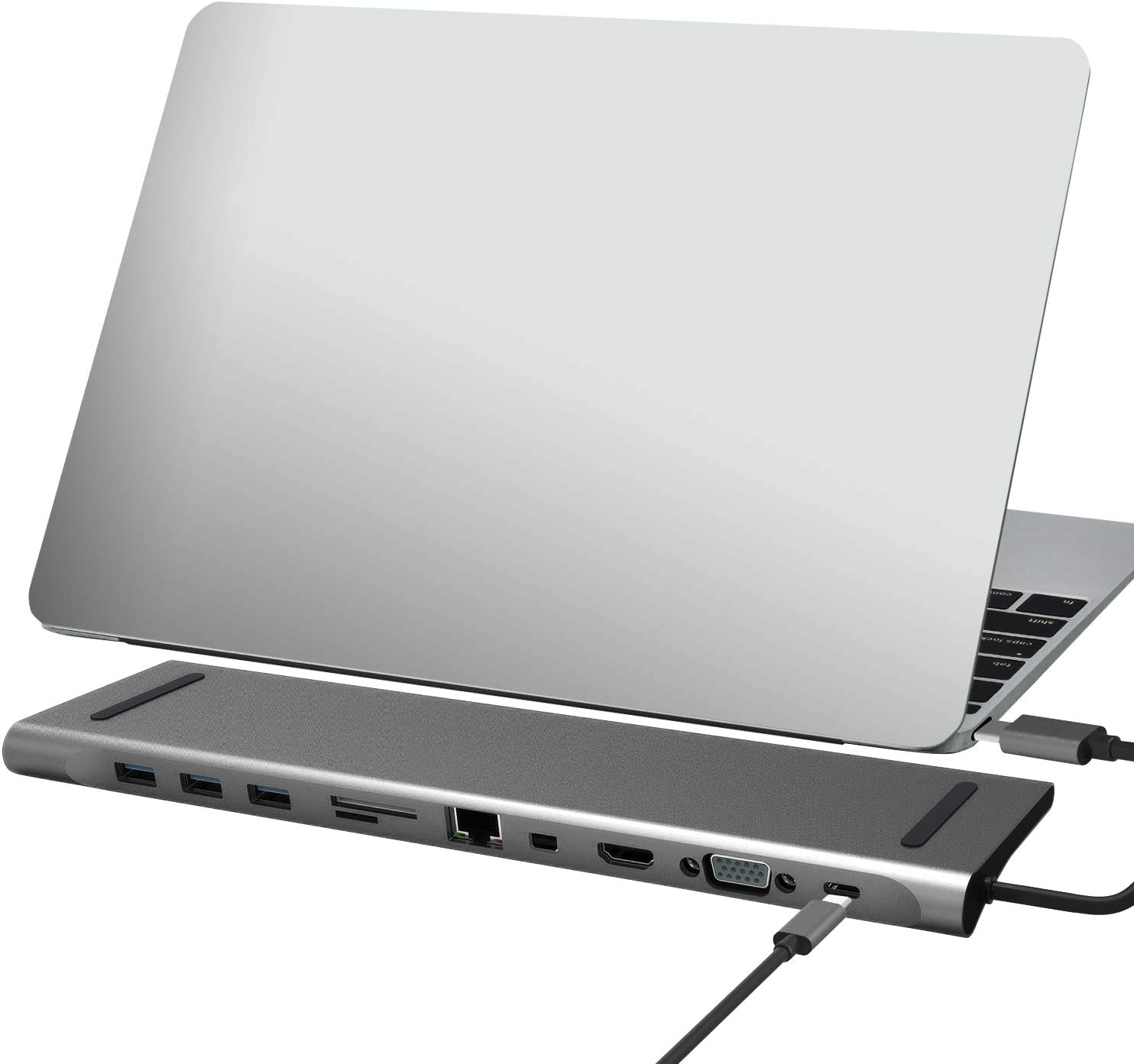 USB C Docking Station - Mydours Type-C Laptop Dock with HDMI,VGA,Mini DP,Gigabit Ethernet,USB C PD2.0,3 USB3.0 Port,SD/TF Card Reader and Audio for MacBook Pro 2016 2017 2018 Chromebook Pixel and more