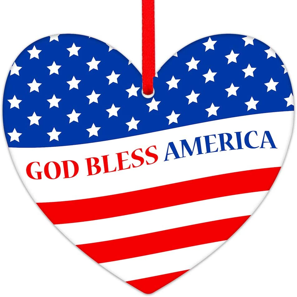 Hohomark God Bless America Christmas Ornaments 2020,American Flag Christmas Tree Ornaments Decorations Patriotic Ornaments for Friends Men Women