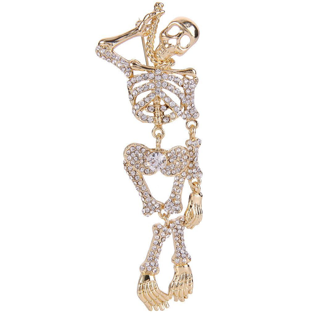 EVER FAITH Austrian Crystal Halloween Vintage Style Gothic Skull Brooch Clear Gold-Tone