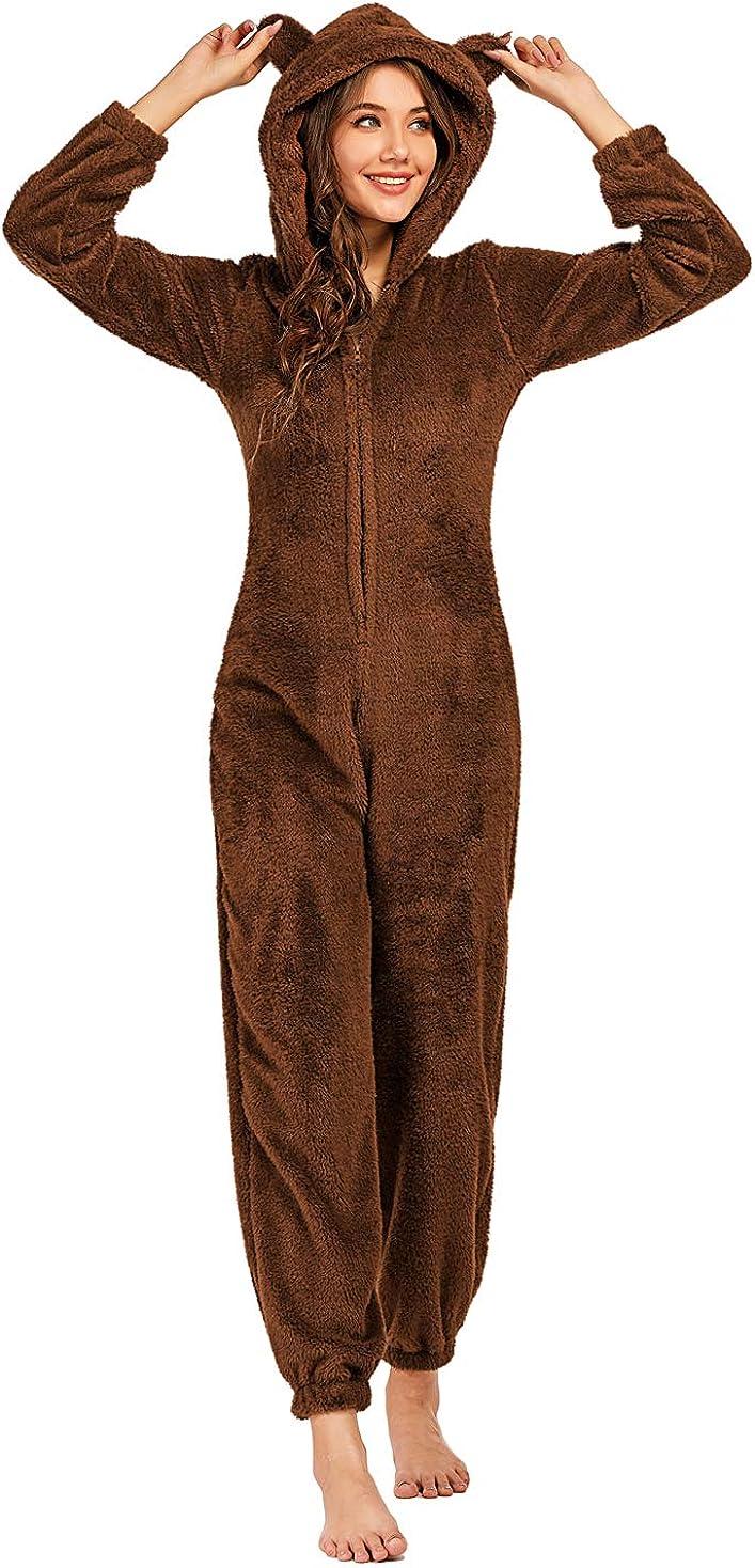 Pijama Mono con Capucha Regalos para Hombre y Adolescentes Talla S-4XL Pijama Hombre Invierno de Forro Polar Pijama MujerEntero de Una Pieza