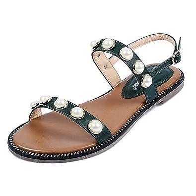 eefe92bfe324 Ulogu Damen Sandalen Bohemian Leather PU Flach Sandaletten Sommer Strand  Schuhe