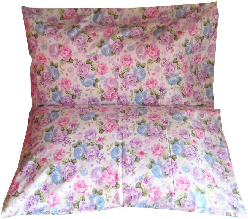 20 x 30 YIH Blue Queen Cotton Pillowcases Set Premium Quality Floral Printed Pillow Covers