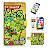 ninja turtle cases for galaxy s5 - ( For Samsung Galaxy S5 ) Flip Wallet Case Cover & Screen Protector Bundle - A20434 Ninja Turtle TMNT