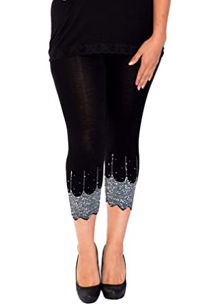 5442705e092 Nouvelle Collection New Womens Plus Size Leggings Ladies Scallop Edge  Sequins Detail Hem Elasticated Cropped Soft Bottoms Trousers  Amazon.co.uk   Clothing