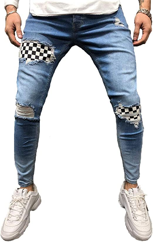 ファッションメンズスキニージーンズパンツリップスリムロングパンツストレッチデニムから遭難擦り切れバイカーScratchted中空に合います,ブルー,XXL