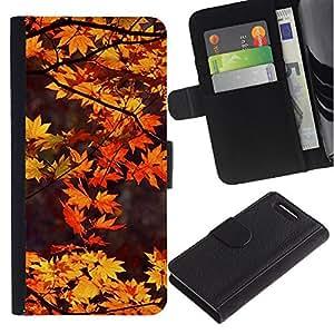 Billetera de Cuero Caso Titular de la tarjeta Carcasa Funda para Sony Xperia Z1 Compact D5503 / Brown Leaves Red Tree Nature Autumn / STRONG