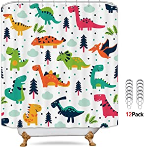 Riyidecor Dinosaurs Shower Curtain Boys Kids Colorful Dino Cartoon Elasmosaurs 12 Pack Metal Hooks Decor Fabric Bathroom Polyester Waterproof 72