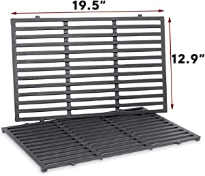 Uniflasy 7524 19.5 Inch Cast Iron Cooking Grates for Weber Genesis E and S 300 Series, Genesis E310 E320 E330 S310 S320 S330 Gas Grill, Weber Genesis Grill Parts Replacement for Weber 7528, 19.5""