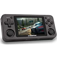 MJKJ RG351M Handheld Game Console ,64G TF Card 2500 Classic Games Support WiFi Function Open Source System RK3326 Chip 3.5 Inch IPS Screen (Black)
