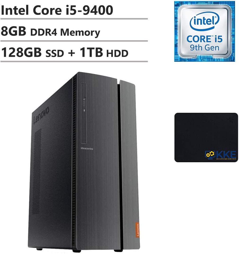 Lenovo IdeaCentre 510A Desktop, Intel Core i5-9400, 8GB DDR4 Memory, 128GB PCIe Solid State Drive + 1TB HDD, WiFi, HDMI, DVDRW, USB3.1, KKE Mousepad, Win10 Home