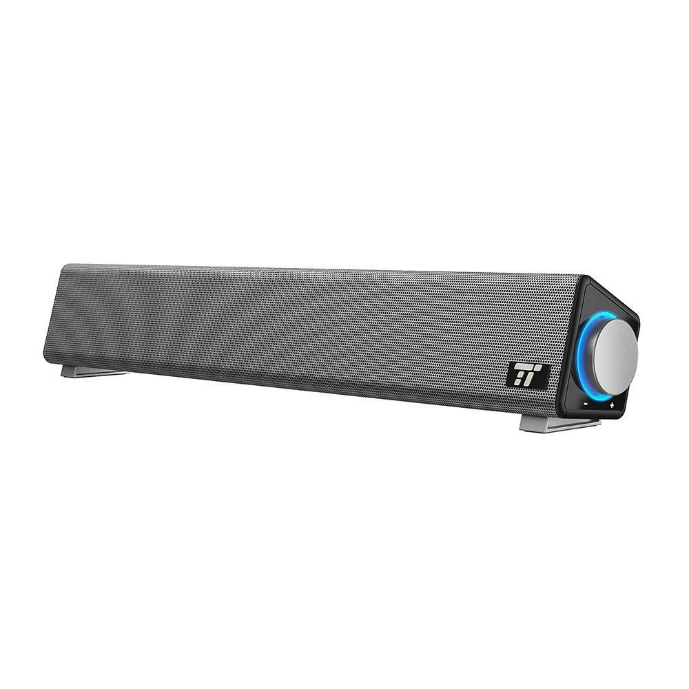 TaoTronics Barra de Sonido USB cable Adecuado Soundbar Control Dial Jack 3.5mm de Auricualres/ Micrófono para TV / PC