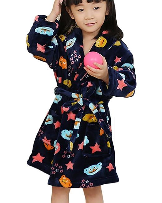 Albornoces de Niña y Chico Manga Larga Ligero Bata Pijama Con Cinturón 5 Estrella M: Amazon.es: Ropa y accesorios