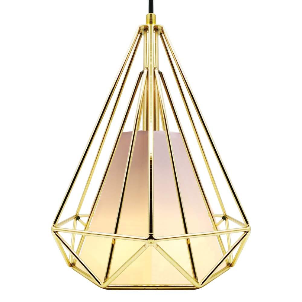 CREATE BRIGHT Retro Style Industrial Loft Metal Chandelier Ceiling Pendant Light,Golden Iron Basket Cage Hanging Lamp