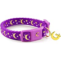 "waaag Pet Collar Gold Moons and Stars Cat Collar, Safety Breakaway Cat Collar, Glow in The Dark (Kitten 6.5""-10"" Neck, Purple)"