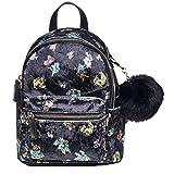Dream Control Floral Butterfly Chic Velvet Small Backpack Shoulder Handbag Black