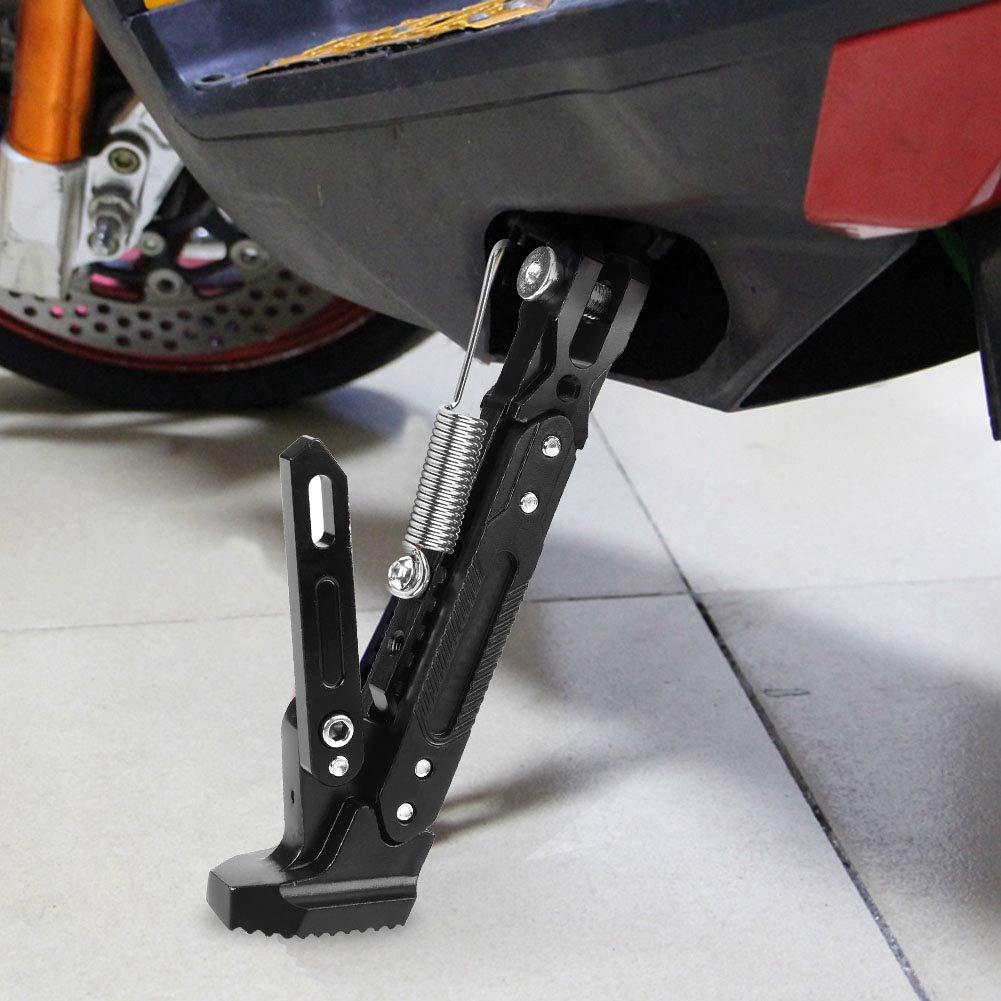 Black Senyar Motorcycle Adjustable Kickstand,Motorcycle Universal Aluminum Alloy Foot Side Stand Tripod Holder