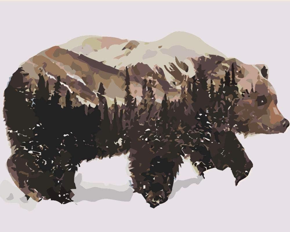 N/O Pintar por Numeros Silueta Animal DIY Acrílica Cuadro al óleo Pintura Kit para Adultos y Niños Principiantes con 3 Pinceles y Colores Brillantes 40x50cm Sin Marco