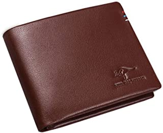 Mens Leather Portefeuilles Extra Capacity Wallet Slimfold Horizontal, Brown-C Blancho Bedding