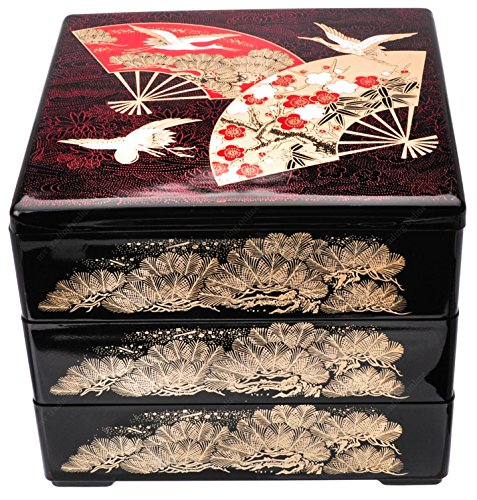 (Japanese Lacquer Longevity Red Fans/Cranes Three Tiers Jubako Stack Lunch Bento Box)