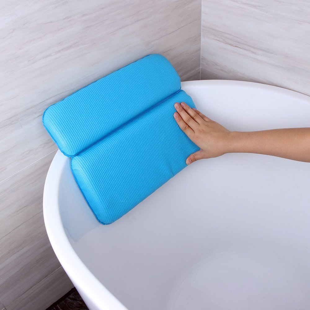 SODIAL Bathroom Bathtub Pillow Bathtub Bath SPA Headrest Waterproof Pillows with Sucker Blue