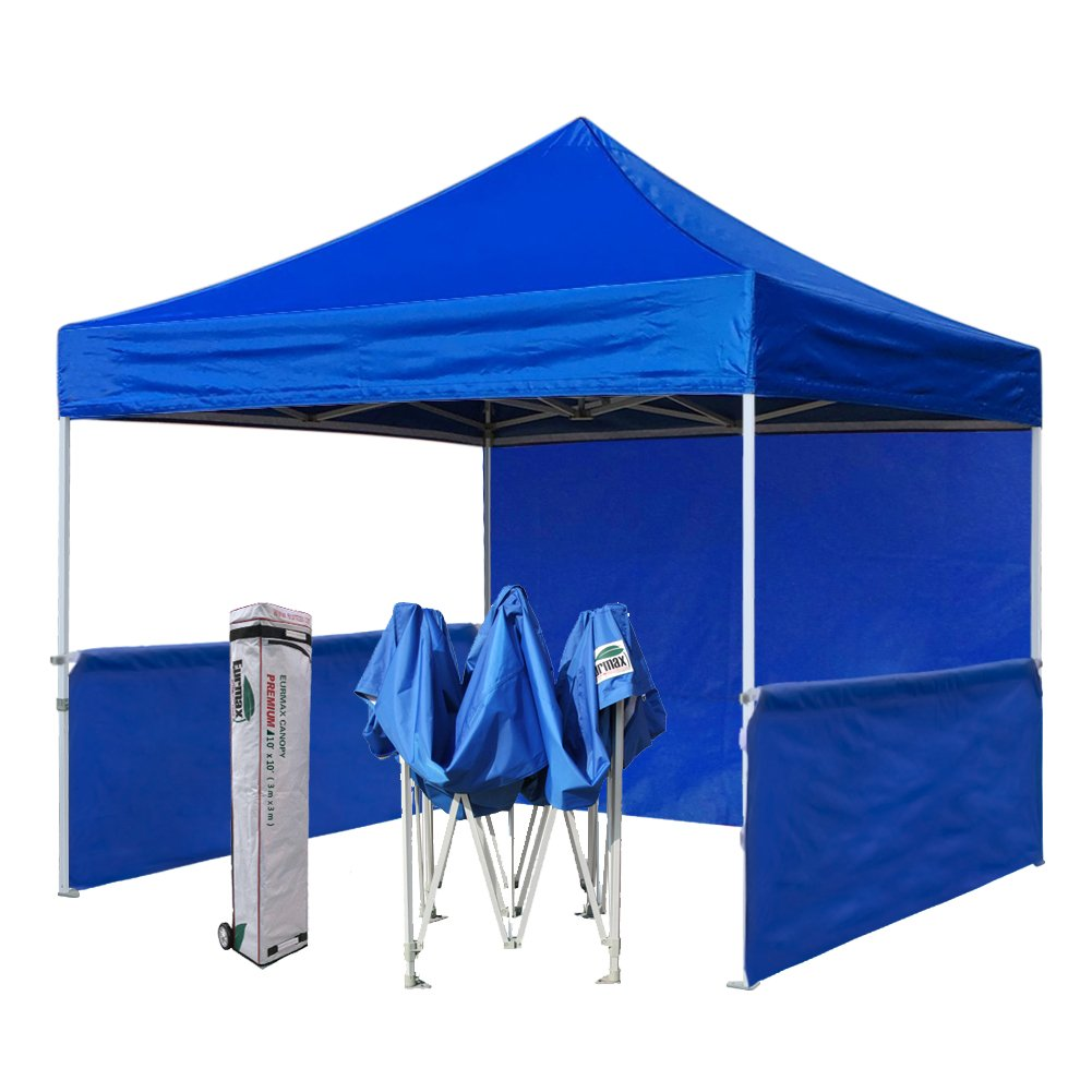 Eurmax Premium 10x10 Trade Show Tent Event Canopy Market Stall Canopy Booth Outdoor Canopy Bonus: Four (4) Weight Bags+Roller Bag (Blue)