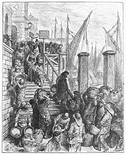 London Billingsgate 1870 Nlanding The Fish At Billingsgate Fish Market London Wood Engraving After Gustave Dor From London A Pilgrimage 1872 Poster Print by (24 x 36) ()