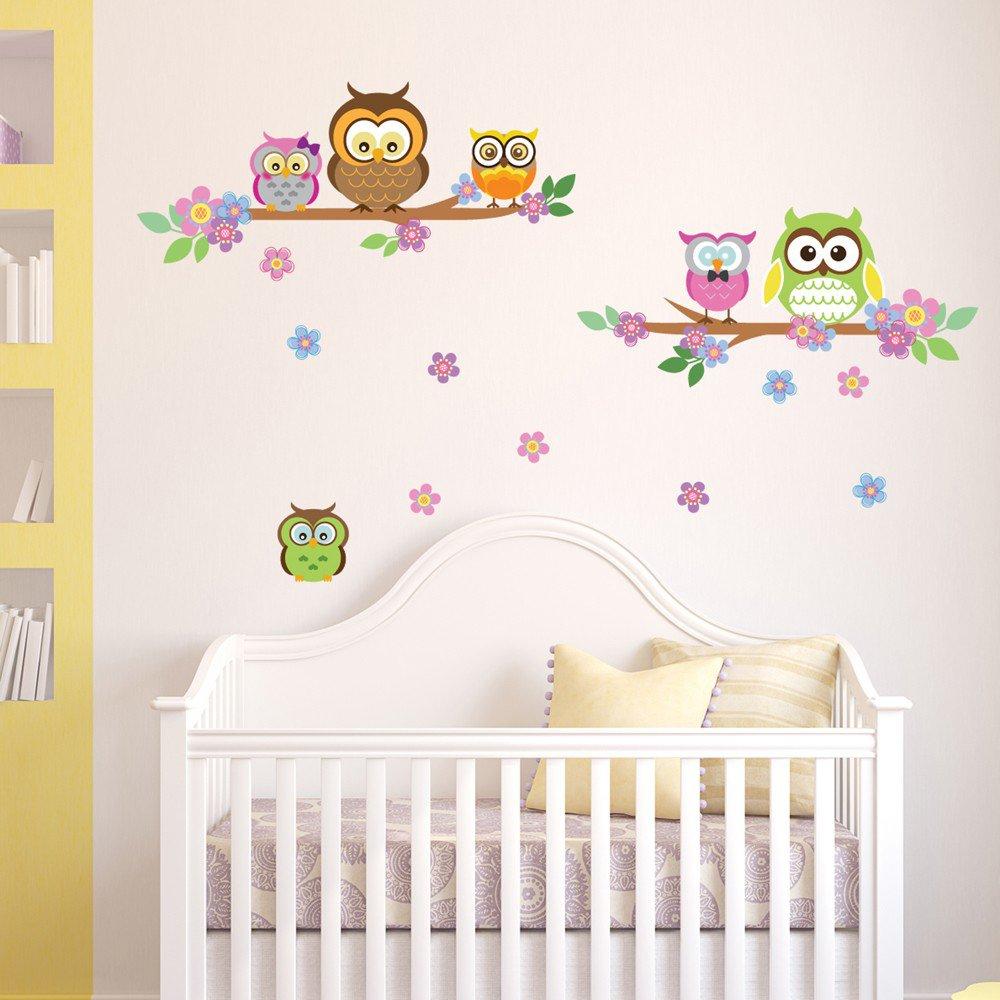 Denoda® Eulen, Äste Und Blumen   Wandsticker (Owl Wanddekoration Wohndeko  Kinderzimmer Babyzimmer Jugendzimmer