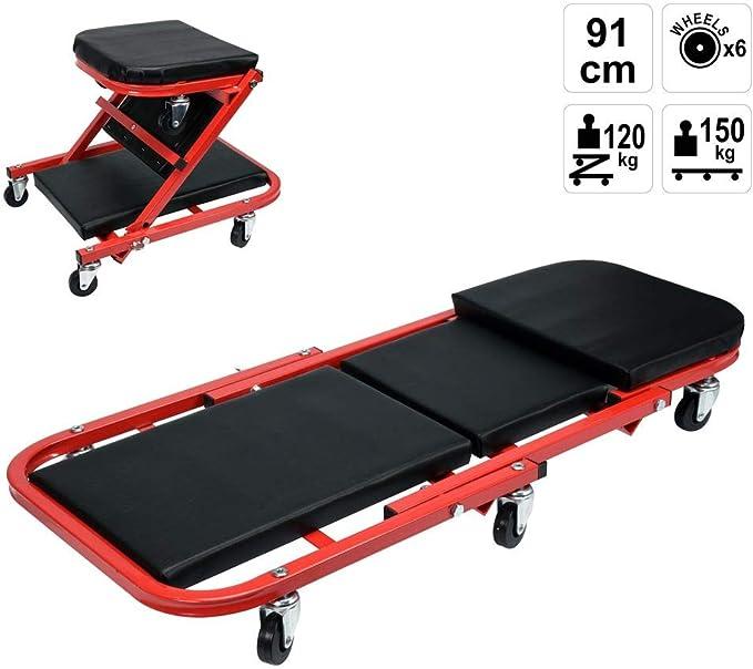 Arebos 2 in 1 Montagerollbrett//Rollbrett bis 150 kg//Sitz und Liegefunktion