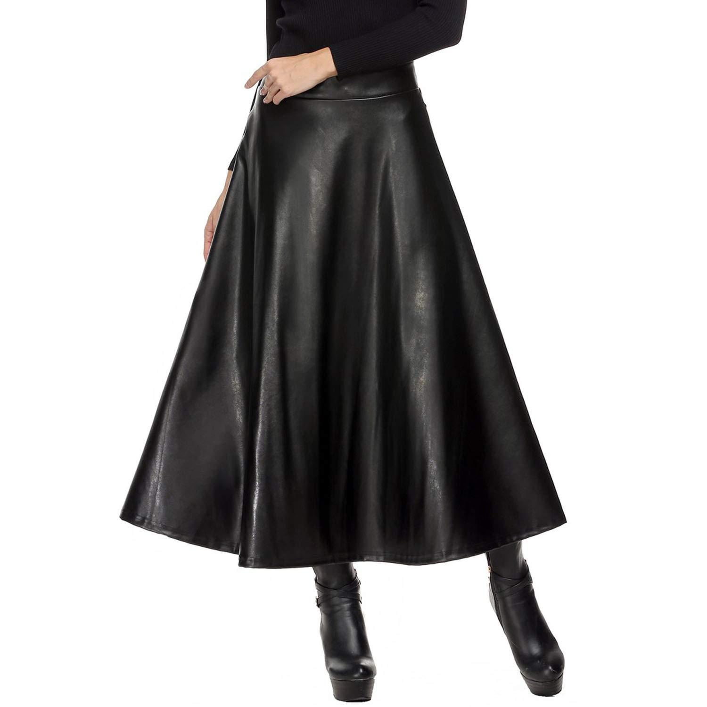 Winter Womens Maxi PU Leather Long Slim Waist Autumn Spring