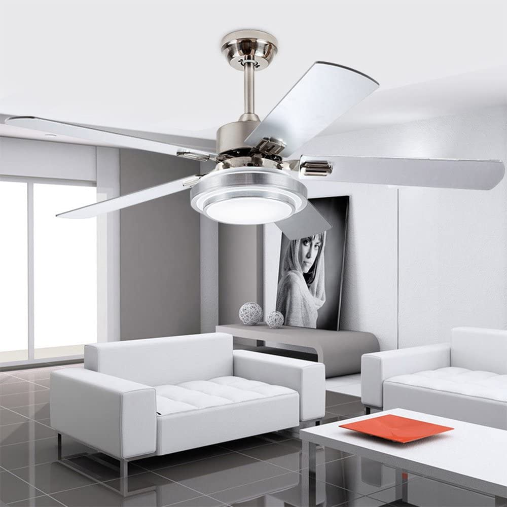 42-Inch Contemporary LED Ceiling Fan 5 Silver Wood Blades and Remote Control 3-Light Changes Indoor Mute Energy Saving Fan Chandelier for Home Decoration