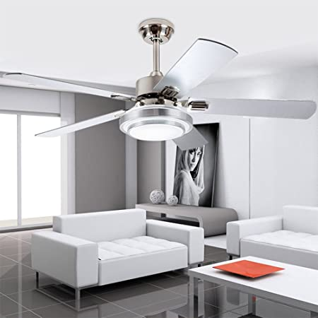 Andersonlight Modern Ceiling Fan with LED Light Remote Control, Brushed Nickel, 48-Inch