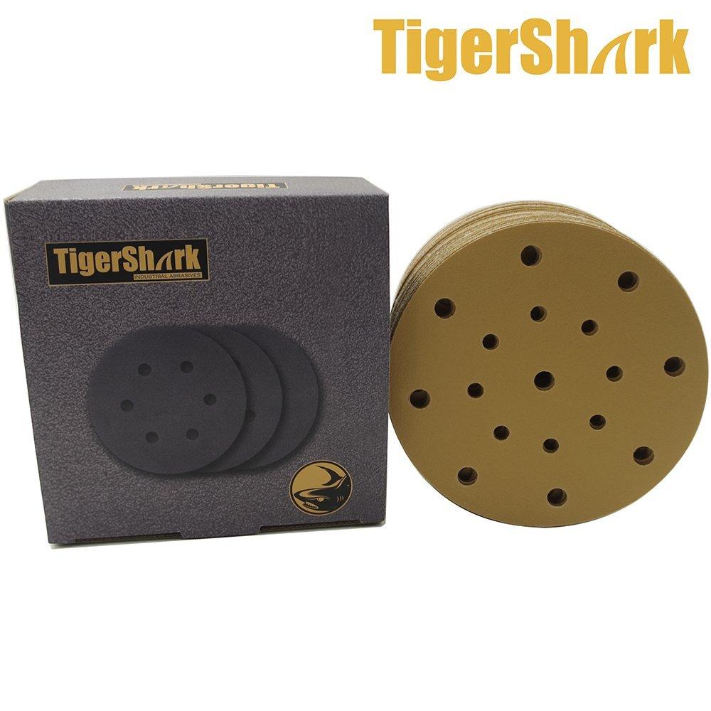 TigerShark 6 Inch 17 Hole Sanding Discs Grit 80 50pcs Pack Special Anti Clog Coating Paper Gold Line Hook and Loop Dustless Random Orbital Sander Paper Coarse TigerShark Co Ltd