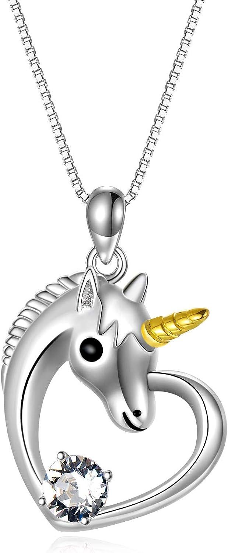 Collier Licorne Argent 925 Femme Pendentif Licorne avec Cristal, Bijoux  Licorne Cadeau Anniversaire Fille Enfant