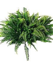 Hacbop 10Pcs Artificial Boston Fern Bush Silk Plant Hanging Fake Greenery Home Decor