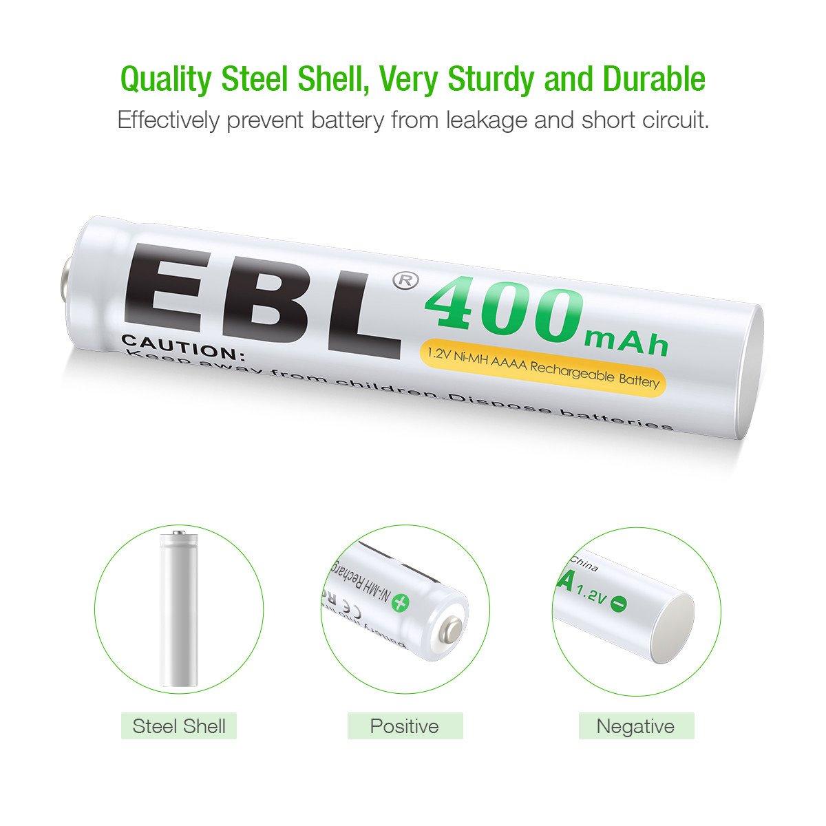 EBL AAAA Piles Rechargeable 400mAh NI-MH 1,2V LR21/E96 Lot de 4 pour Stylet Actif, écouteur, etc. avec Boîte de Rangement pour Piles