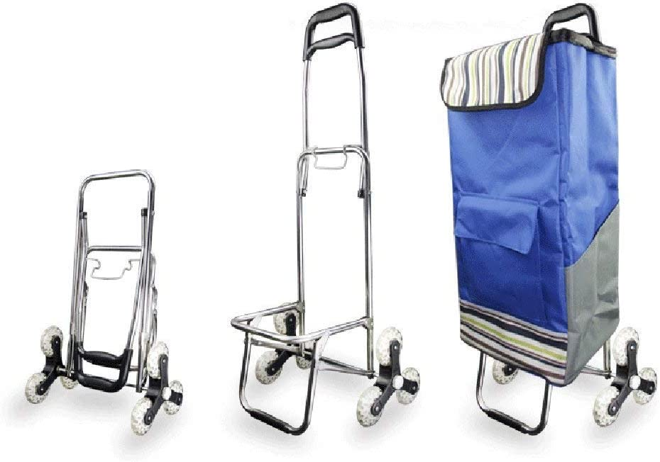 KFDQ Old Person Shopping Trolleys,Shopping Cart Pull Cart Small Cart Luggage Trolley Folding Trailer Trolley Trolley Home Portable Travel,Navy Blue